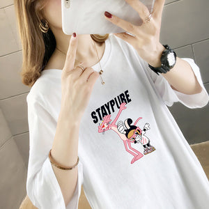 Pink Panter Printing Mid-length T-shirt