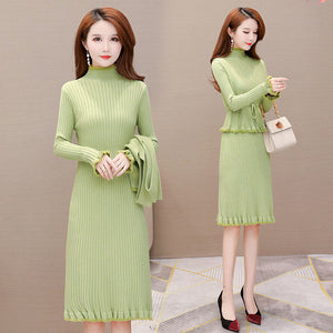 Long Two-Piece Coat Base Knitted Dress