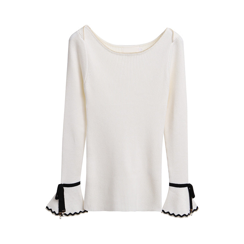 A37Z New Lace-up Sleeve Knit Top