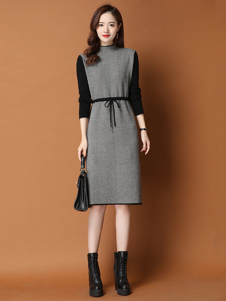 A17G Inner Coat Mid-length Lace-up Dress