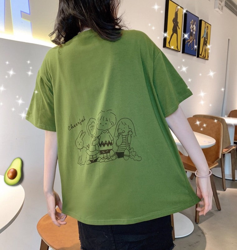 Cartoon Anime on Back Short-sleeved T-shirt
