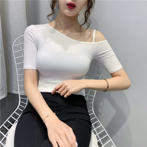 A37F Oblique Collar Sexy Scheming Fitting Shirt