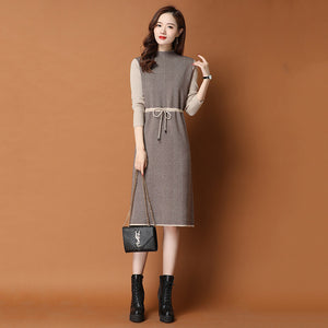 Inner Coat Mid-length Lace-up Dress