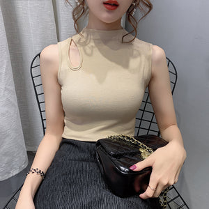 A36W Shoulder Hole Sexy Sleeve Less Top