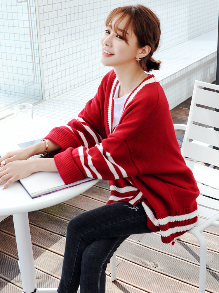Oversized Sleeves Striped Cardigan-Cardigans-[korean fashion]-[korean clothing]-[korean style]-SOO・JIN