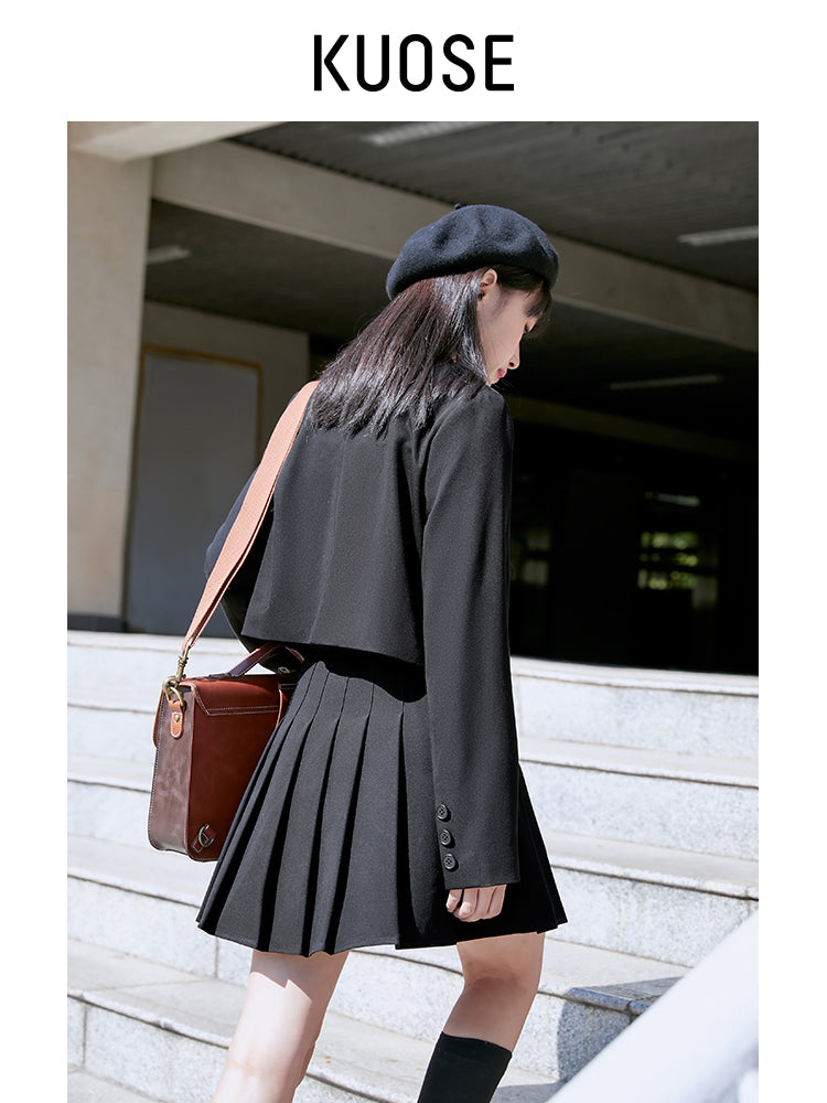 A18J Black College Pleated Skirt
