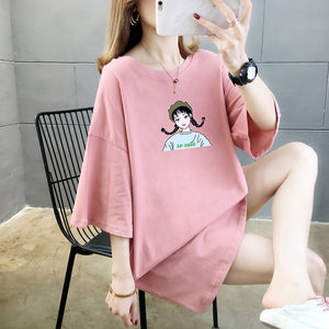 A36G Doll Printing Mid-length T-shirt