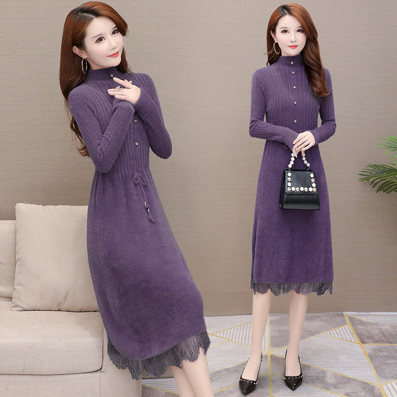 A16I Half-high Collar Inner Woolen Dress