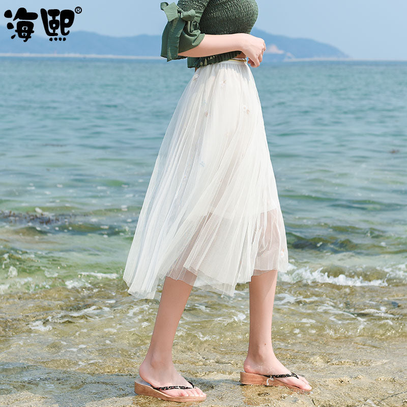 Mesh Look Breezy Skirt-Bottoms-[korean fashion]-[korean clothing]-[korean style]-SOO・JIN