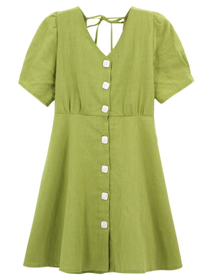 A36N Bubble Sleeve Front Buttons Line Top