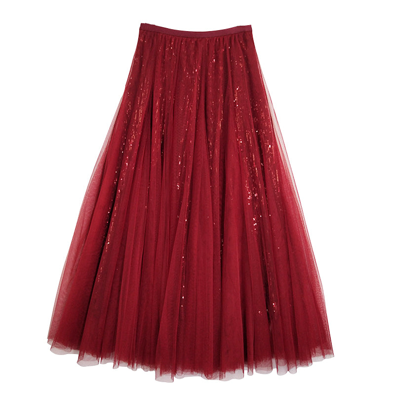 A21B Sequined Gauze Skirt