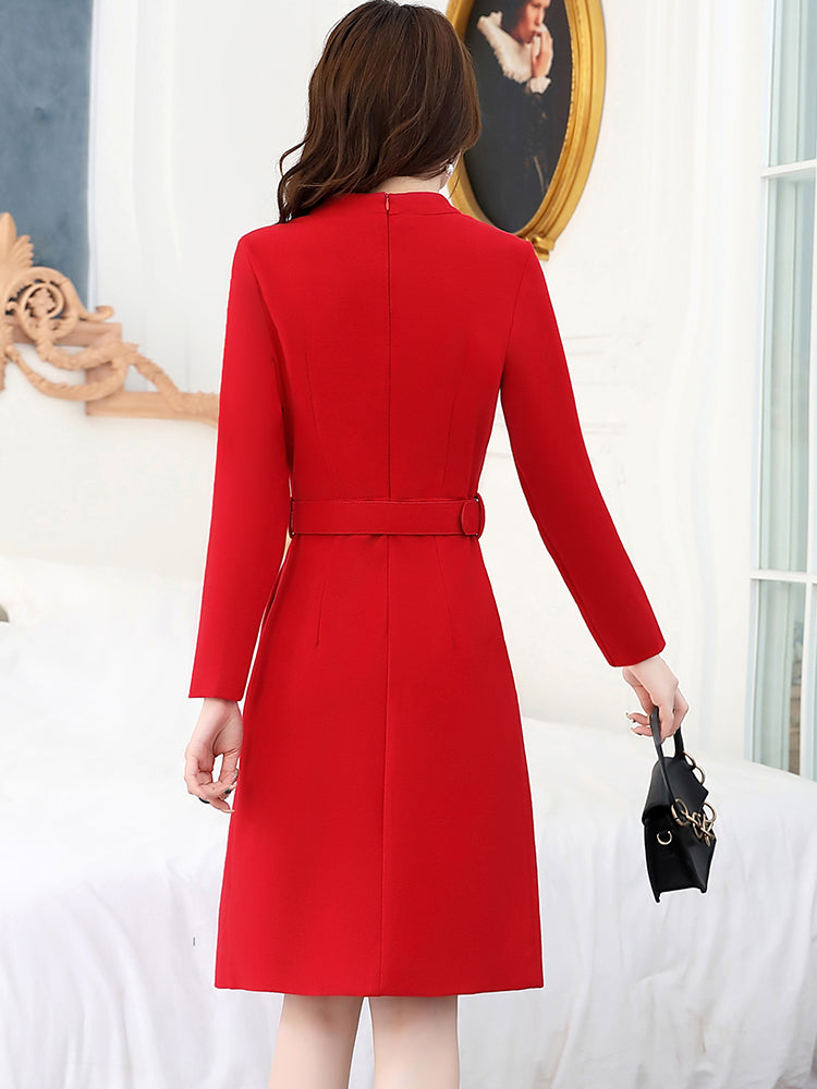 A17i Long-sleeved Red Woolen Dress