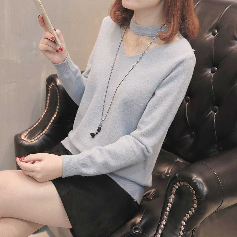 Lace-Neck Ruffled Bottoming Pullover