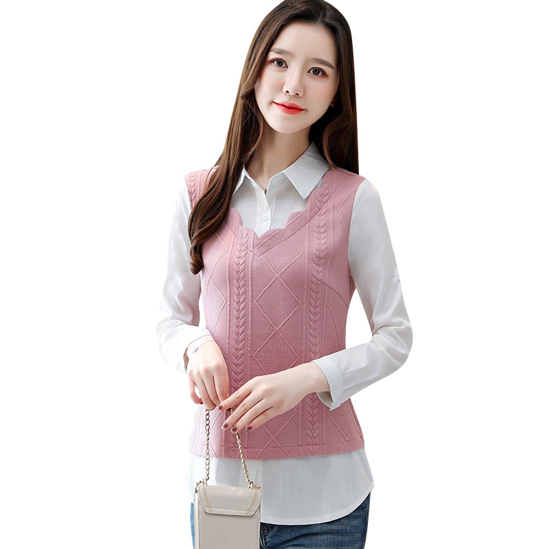 A12V Long and Folded Sleeve Two-piece Shirt