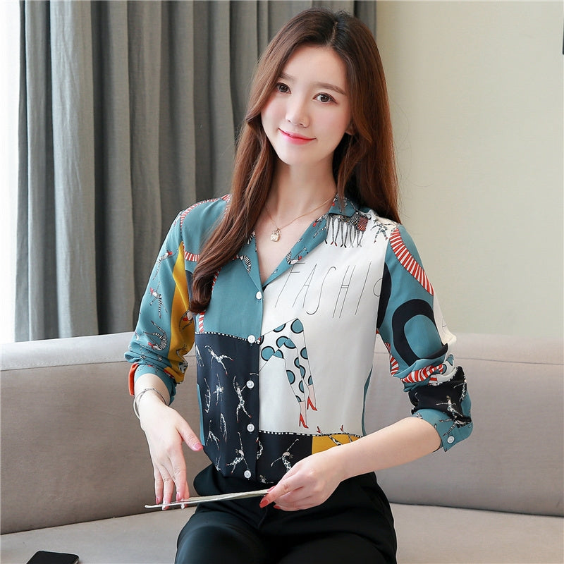 A14C Chiffon Blouse Flower Design Shirt