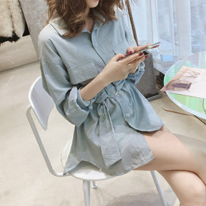 Striped Pocket Style Loose Shirt