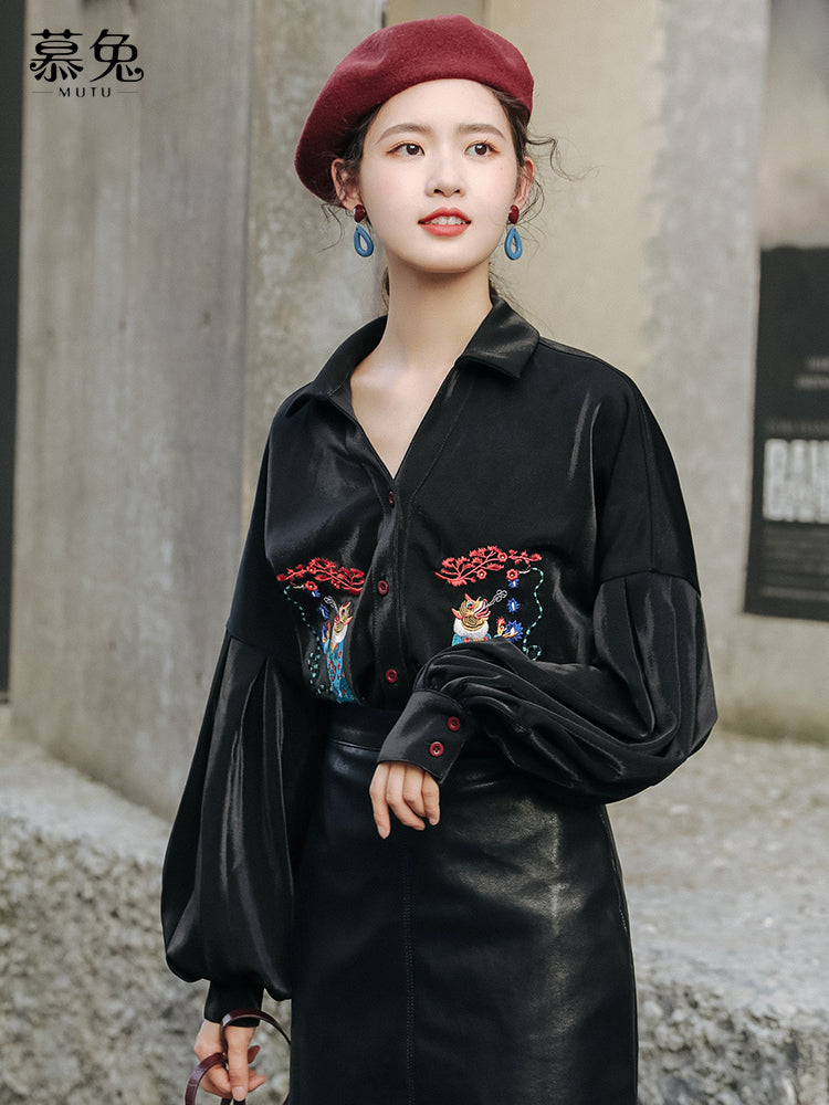 A15Z  Loose Vintage Embroidery Shirt