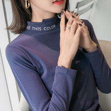 A5L Velvet Bottom shirt female long sleeve autumn/winter 2018 new half high collar letter thickened mid-collar T-shirt inside the top tide