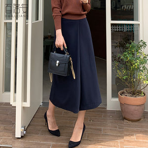 Over The Knee Solid Color Long Skirt