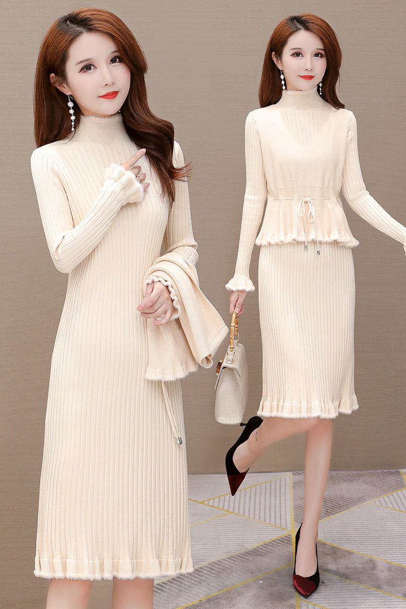 A20K Long Two-Piece Coat Base Knitted Dress