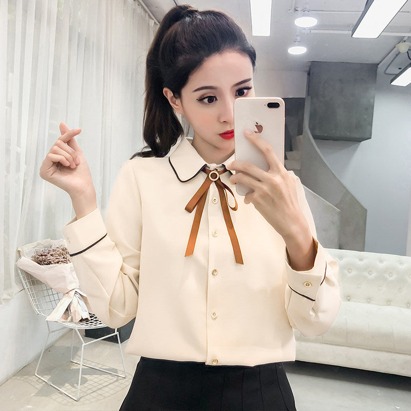 CHARM Bow Tie Shirt-Blouses & Shirts-[korean fashion]-[korean clothing]-[korean style]-SOO・JIN