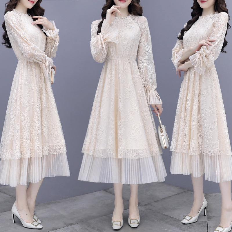 A20H Lace Bottom French Long Skirt Dress Winter 2020
