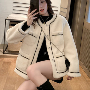 White Wool Warm Female Coat