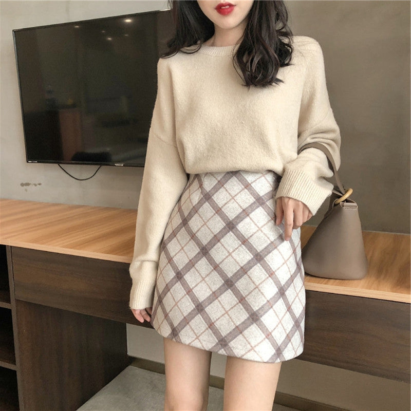 A35R Thick Loose Top Short Skirt Two-piece Set