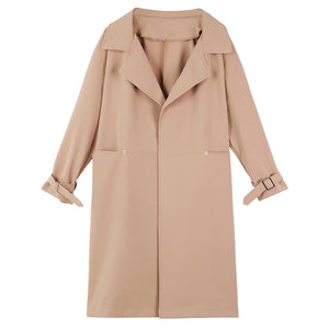 A28R Lapel Loose Mid-length Trench Coat