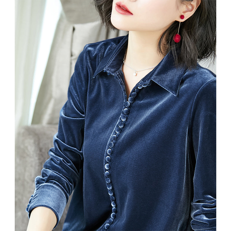 Velvety Smooth Look Shirt-Blouses & Shirts-[korean fashion]-[korean clothing]-[korean style]-SOO・JIN