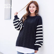 White Striped Sleeve Pullover A6H