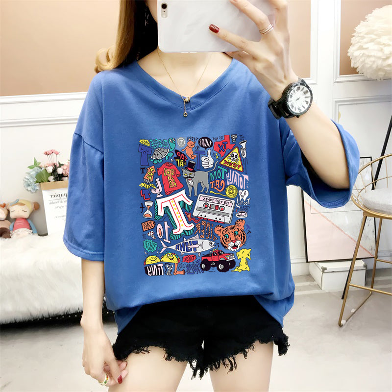 A38P Animal Cartoon Printed Half-Sleeved T-Shirt