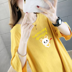 Half-Sleeved Cute Mouse Anime T-Shirt