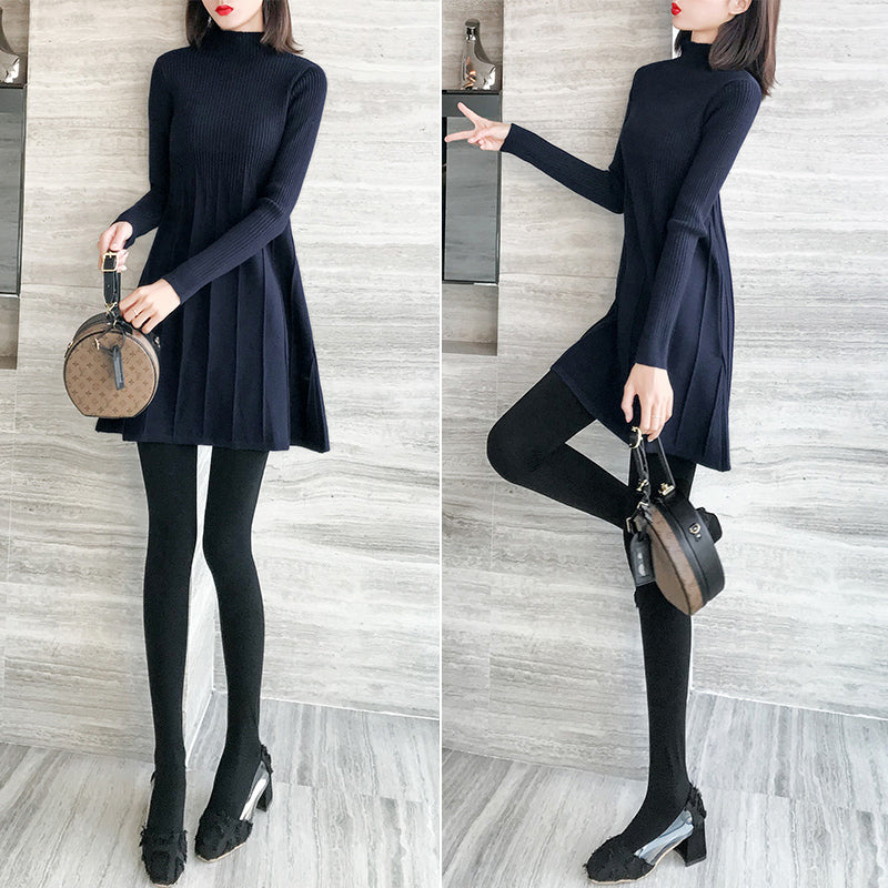 A17F Package Hip Sweater Skirt Knitted A-line Dress