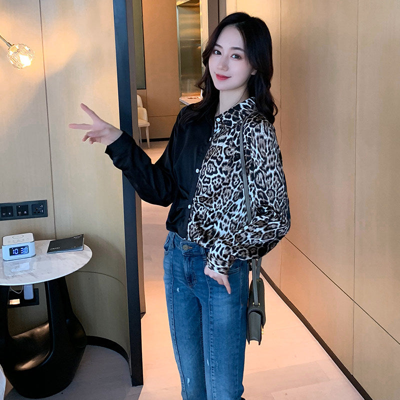 Leopard Stitching Long Sleeved Top