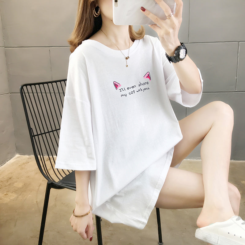 A39B Round Neck Cat Letters Printed Cute T-shirt