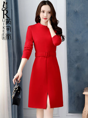 Long-sleeved Red Woolen Dress