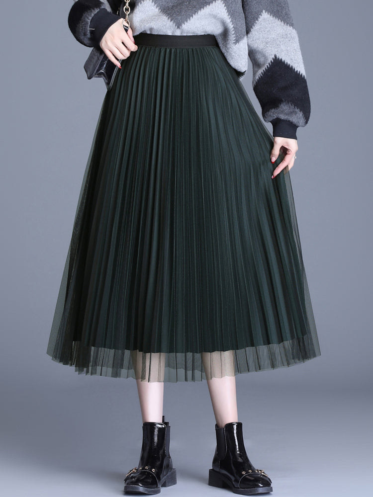 A21O One layer mesh & woolen Skirt