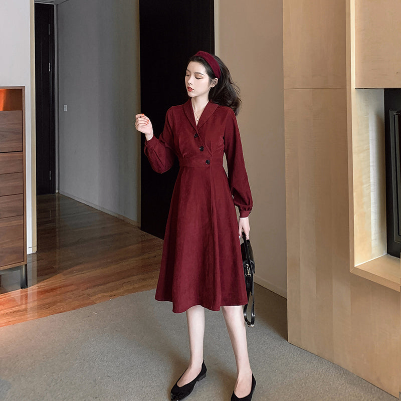 A20V Suit Collar Three Button Dress