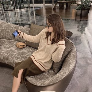 A13I Lazy V-neck Long-sleeved Pullover