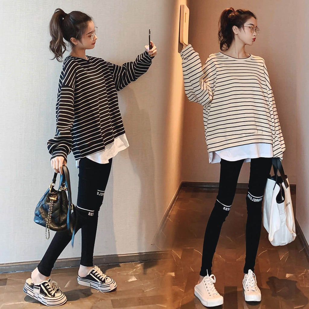 A38N Stripes Stitching Casual Pant & Top