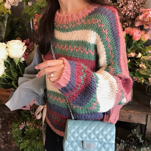 Thick Wool Rainbow Warm Pullover