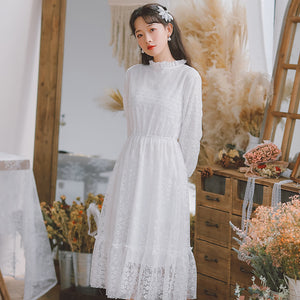 Bell Sleeve Fungus Lace Dress