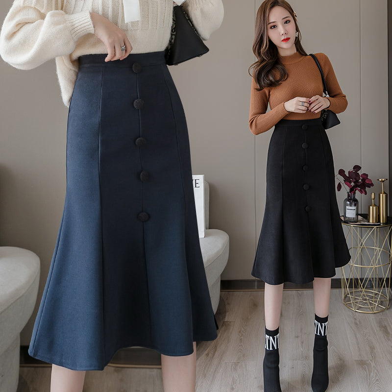 A11Z Mid-Length a-line Thin Skirt