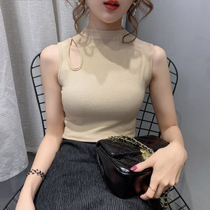 Shoulder Hole Sexy Sleeve Less Top