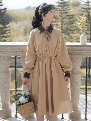 A20G Elastic Waist Long-Sleeved Dress