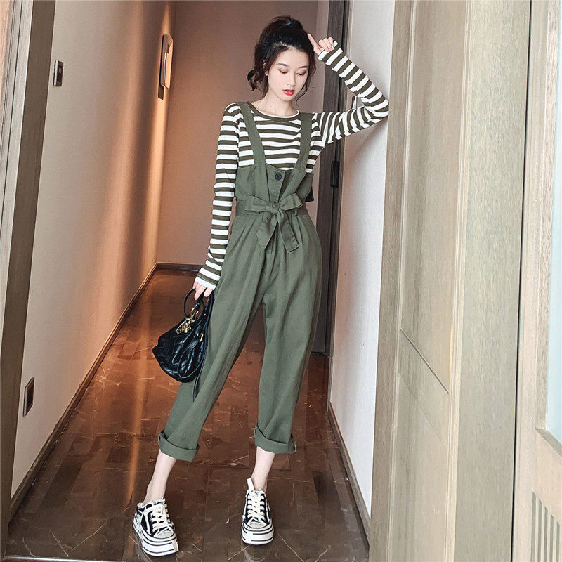 Casual Fashion Striped top Two-piece Suit