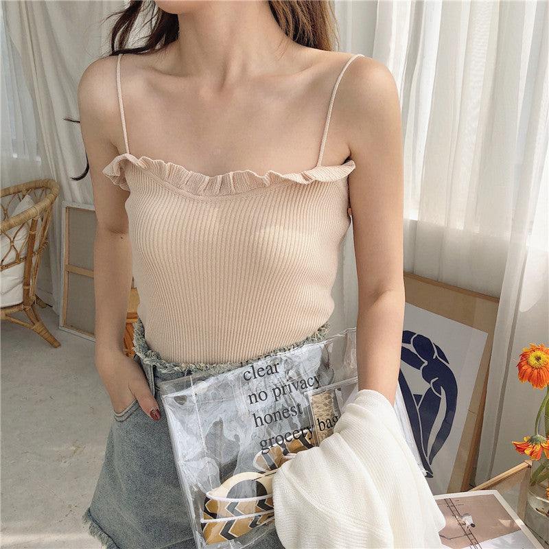 A31G Sleeveless Knitted Outer Wear Top