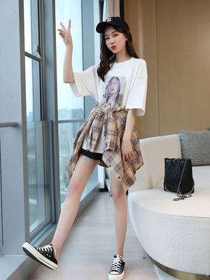 A24W  Fashion Patch Two-Piece T-shirt