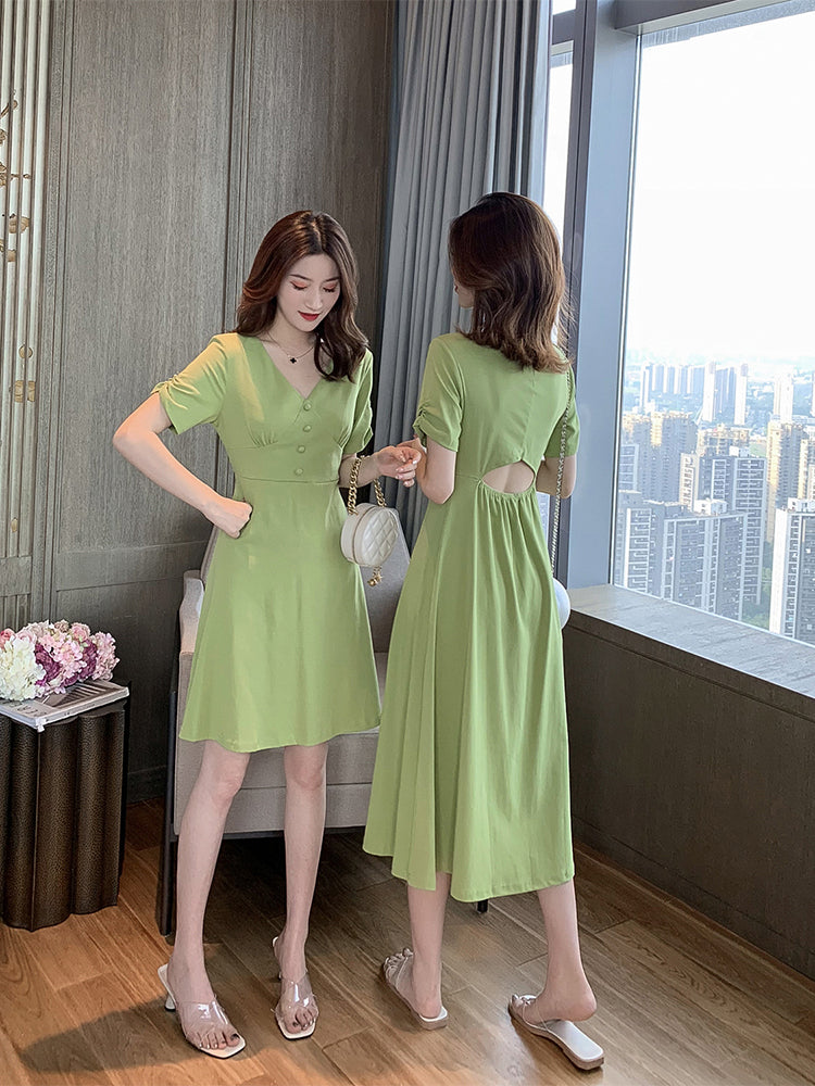 A38W V-neck Slimming Long and Mid Length Dress